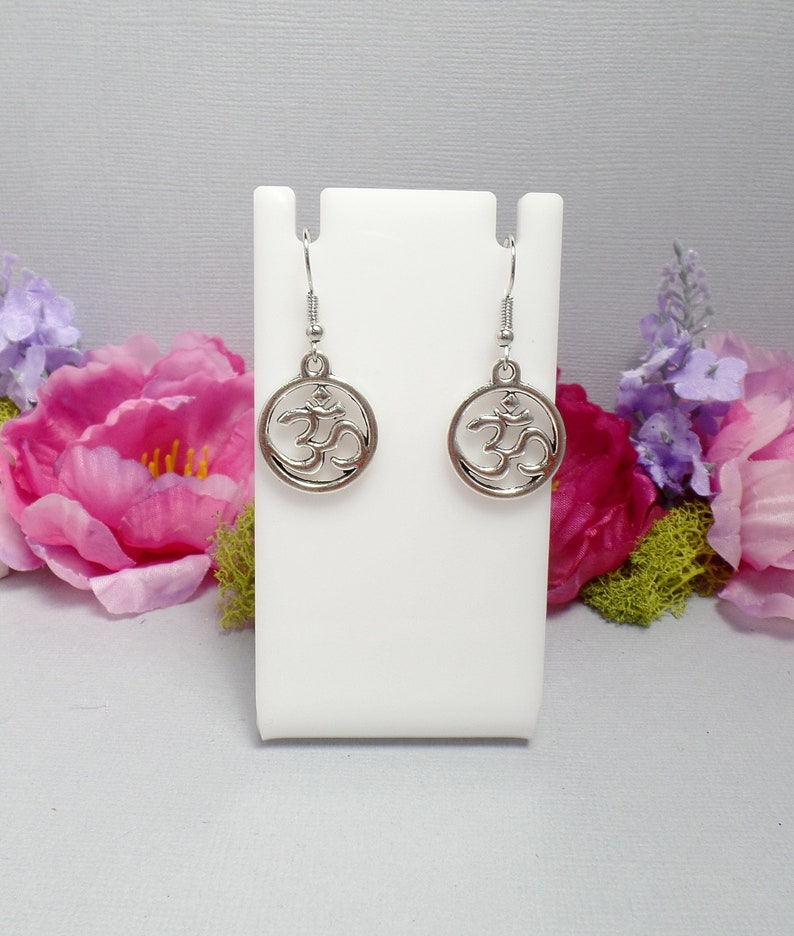 Silver Om Charm Earrings  Yoga Jewelry  Yoga Earrings  image 0