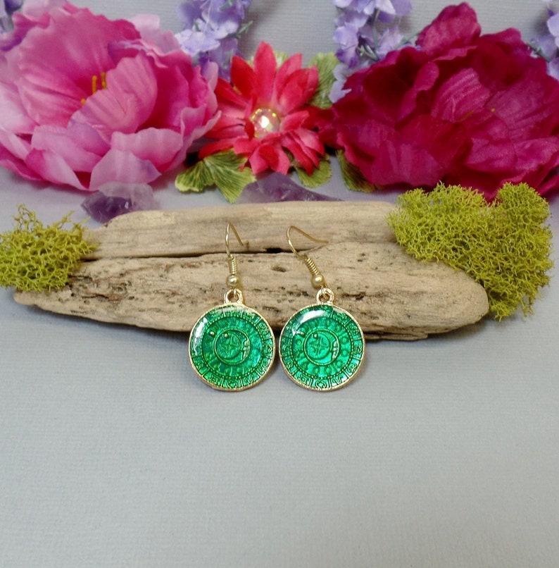 Green Zodiac Medallion Earrings  Green Resin Earrings  image 0