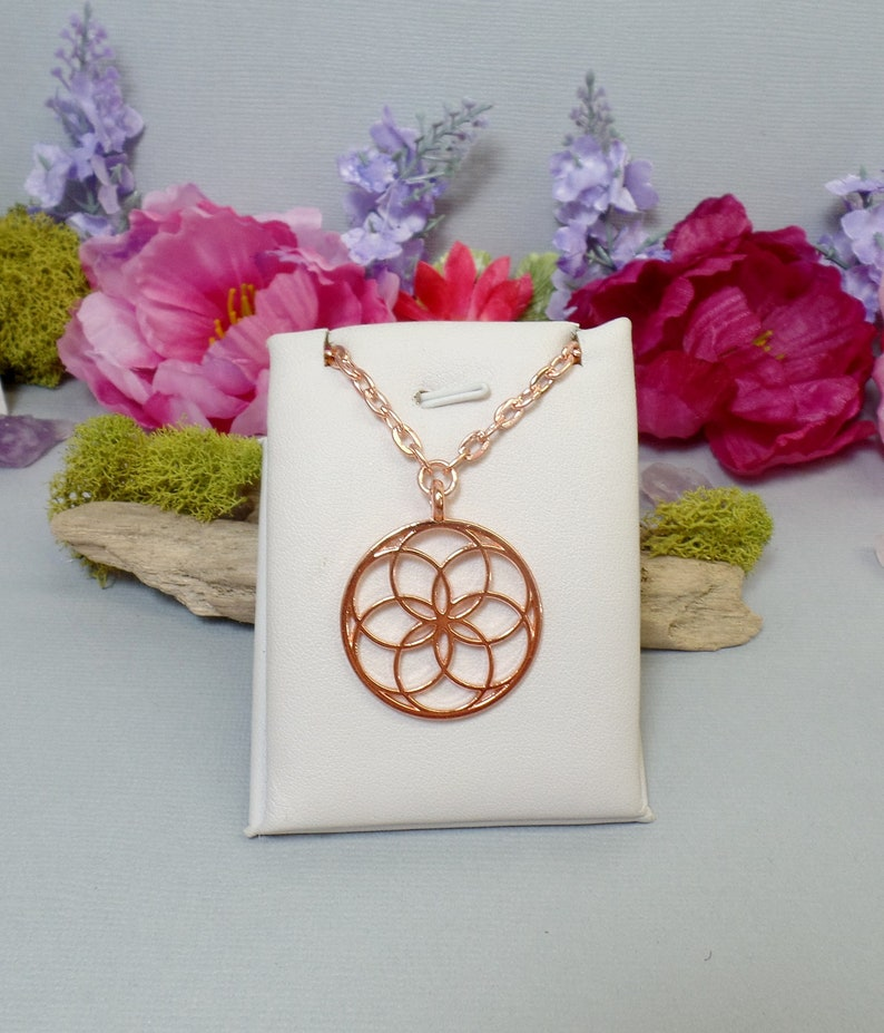 Seed of Life Necklace  Sacred Geometry Necklace  Flower image 0