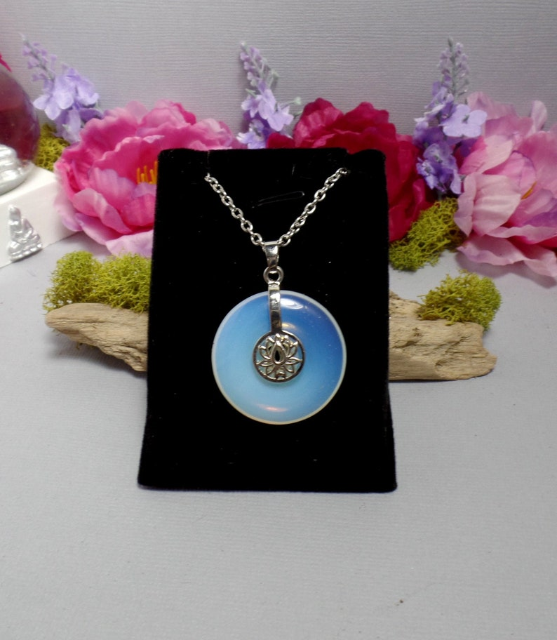 Opalite Lotus Necklace  Opalite Donut  Gemstone Necklace  image 0