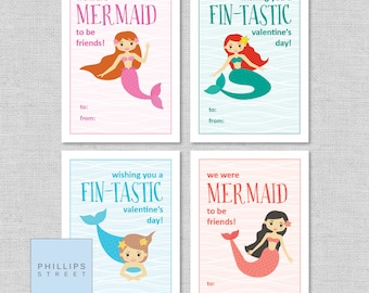 printable MERMAID Valentine's Day cards . kids classroom valentines . mermaids . instant download . DIY