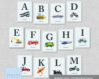 transportation alphabet cards . ABC wall art . flash cards . nursery decor