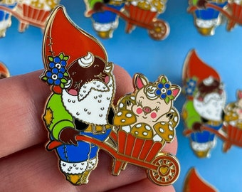 August the Magnificent Mushroom Hunter Lucky Garden Gnome - hard enamel lapel pin badge by Stacey Martin Tattoos