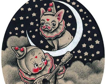 Wee Petite Pierrot Serenades the Frenchie, Tattoo Inspired Print