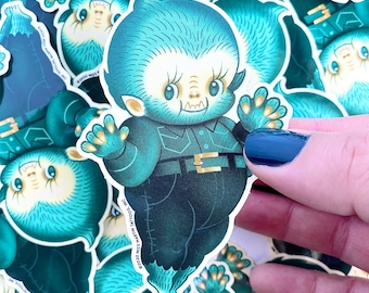 Lonnie the Wee Monster Babe Sticker - Spoopy Monster Kewpie Vinyl Sticker, by Stacey Martin Tattoos