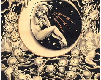 Conjuring the Elements or 29 Kewpies but the Witch Ain't One, Vintage Occult, Tattoo Inspired Print