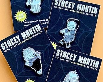 Ghoul Gang, Glow-In-The-Dark Monster Kewpies, Set of 4 Enamel Pins by Stacey Martin Tattoos