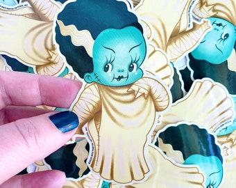 Ellie the Wee Monster Babe Sticker - Spoopy Monster Kewpie Vinyl Sticker, by Stacey Martin Tattoos