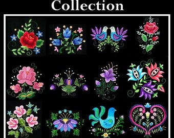 12 Polish folk art machine embroidery designs in pes, art, hus, jef, and vip