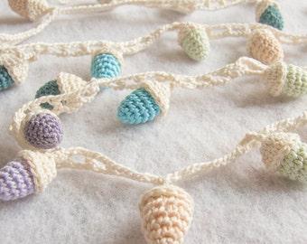 Finished Crochet Acorn Woodland Garland Home Decor