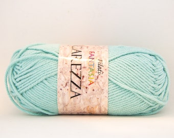 Worsted Beige Cotton Yarn -  Teal/Mint - Color #10
