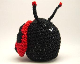 Crochet Ladybug, Black and Red Ladybug