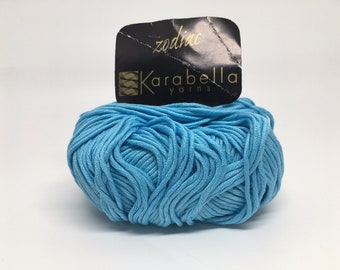 100% Mercerized Cotton Yarn - Karabella Zodiac in Turqoise Nordic Blue 435