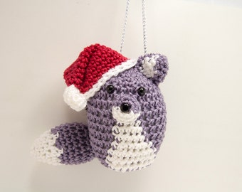 Fox Christmas Decoration Tree Ornament in Purple with Santa Hat