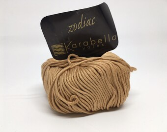 100% Mercerized Cotton Yarn - Karabella Zodiac in Light Brown/Nutmeg 419