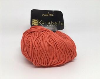 100% Mercerized Cotton Yarn - Karabella Zodiac in Geranium 475