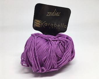 100% Mercerized Cotton Yarn - Karabella Zodiac in Rich Purple 407