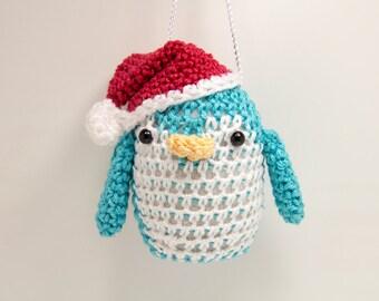 Penguin Christmas Ornament - Teal Christmas Penguin with Santa Hat