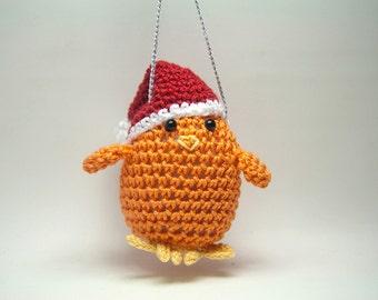 Chicken Ornament Orange with Santa Hat