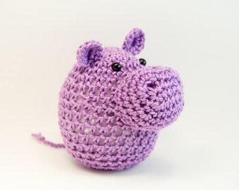 Crochet Hippo Amigurumi, Toy, Paperweight, Home Decor