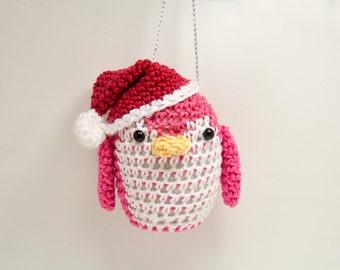 Penguin Christmas Ornament - Christmas Penguin in Hot Pink