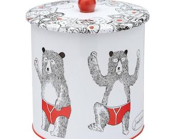 Bear Biscuit Barrel Tin