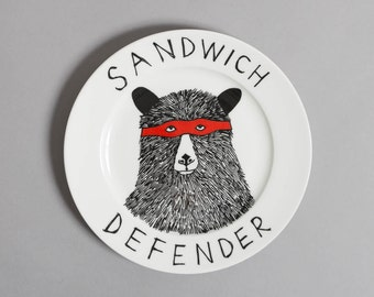 The Sandwich Defender Bear decorative ceramic side plate