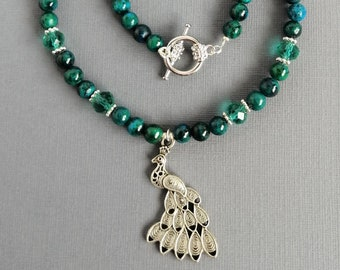 Peacock necklace with green jasper and green crystal