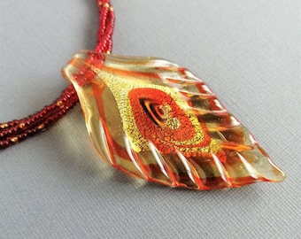 Red and gold glass leaf pendant necklace