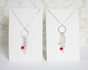 Crystal Family Pendant with Silver Chain, Family Necklace for Mother's Day