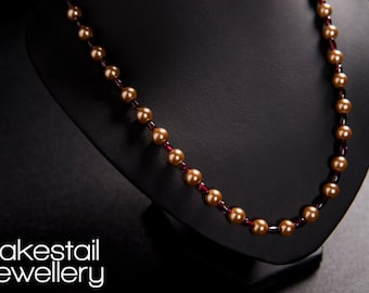 Garnet and pearl Necklace - Custom Order