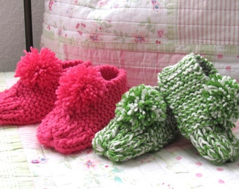 Hand knit booties, all sizes available
