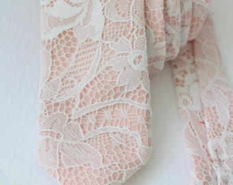 Blush with Ivory Lace Neck Tie