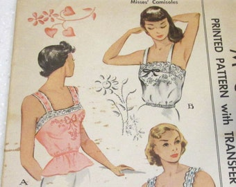 Vintage McCall's Printed Pattern #1423 Size 14 CAMISOLES Transfer Included 1948 Sewing Notions Pattern Vintage Fashion Supplies (J316)