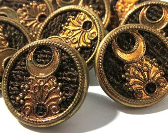 Victorian Perfume Buttons Crescent Moon ANTIQUE Buttons Eight (8) Two Piece Perfume Buttons Victorian Wedding Jewelry Sewing Supplies (T210)