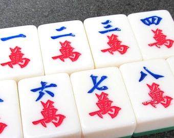 Mah Jongg Tiles VINTAGE Mah Jongg Tiles Craks Mah Jong Craks Chunky Tiles Nine (9) Vintage Jewelry Art Supplies Vintage Game Pieces (N96)