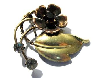 12k Gold Flower Brooch VINTAGE Van Dell RHINESTONE Pin Brooch Gold Filled Floral Design Signed Van Dell 1940s Style Vintage Jewelry (J2)