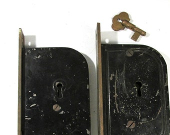 Antique Lock Mechanisms with Key Two (2) Antique VINTAGE Lock Mechanisms Art Assemblage Hardware Restoration Supplies FREE Shipping (D74)