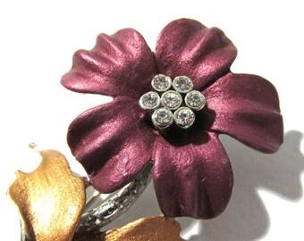 Purple Enamel Flower Pin VINTAGE Enamel Brooch FLOWER Silver Setting Gold Leaves Rhinestones Ready to Wear Fashion Jewelry (M92)