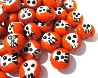 Skull Beads GLASS Orange Skull Focal Beads Lampwork Twelve(12) Beads 13mm Handmade Glass Beads Vintage Halloween DoD Jewelry Supplies (T208)