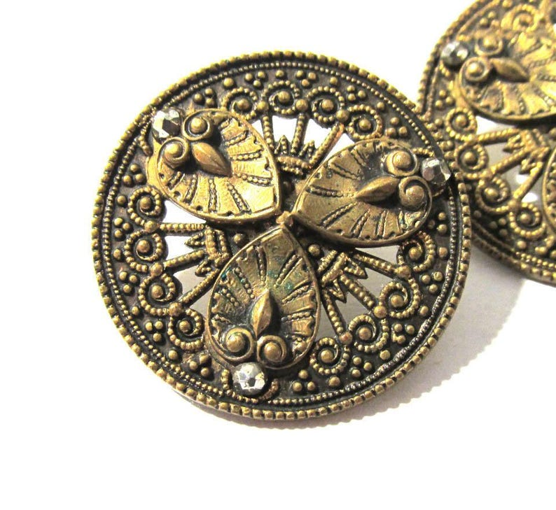 Victorian Cut Steel /& Brass BUTTONS Two Cut Steel Accents Pierced Floral Design 1  116 Buttons Wedding Jewelry Sewing Supplies 2 M88