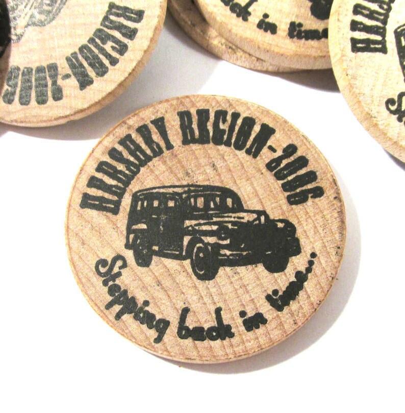 Wooden Nickel Coins Twelve 12 Wooden Nickel Vintage Car Advertising Hershey Aaca Fall Meet 2006 Vintage Art Supplies Collectible M112