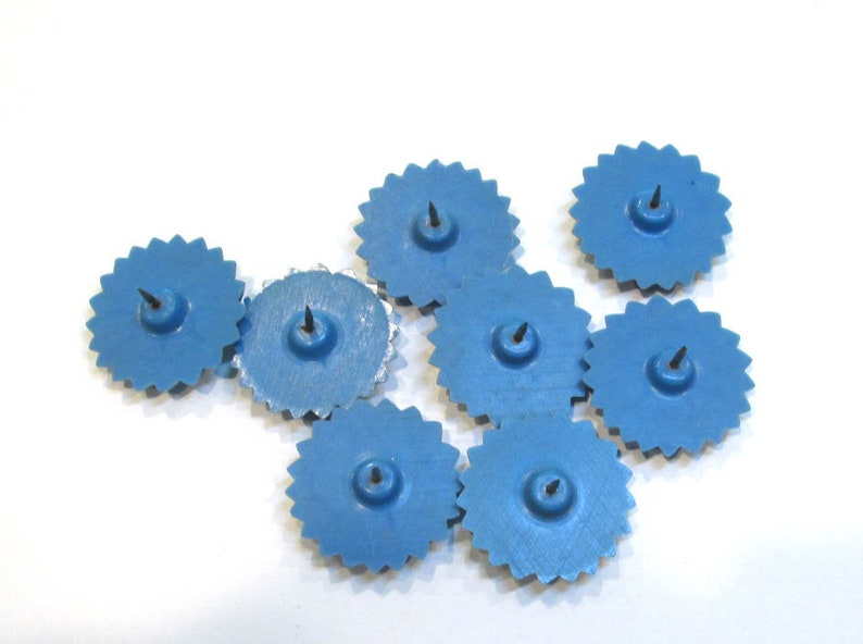 8 Curtain Tie Back Pins VINTAGE Curtain Tie Back Pins Eight Plastic Blue FLOWERS 1930s Curtain Tie Back Decor Home Restoration Y441