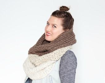 The Ombré Cowl | CAFÉ AU LAIT | Chunky Knit Ombré Oversized Huge Textured Winter Cowl Scarf