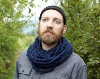 THE SKIPJACK COWL   30+ Color Choices   Mens Scarf Chunky Knit Infinity Rope Loop Cowl