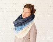 The Ombré Cowl | TURQUOISE | Chunky Knit Ombré Oversized Huge Textured Winter Cowl Scarf