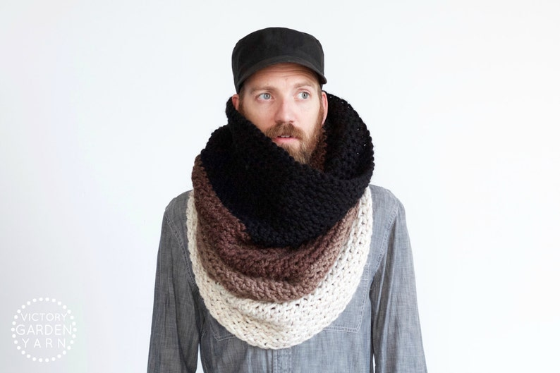 The Ombré Cowl  COCOA  Mens Chunky Knit Ombré Oversized Huge image 0