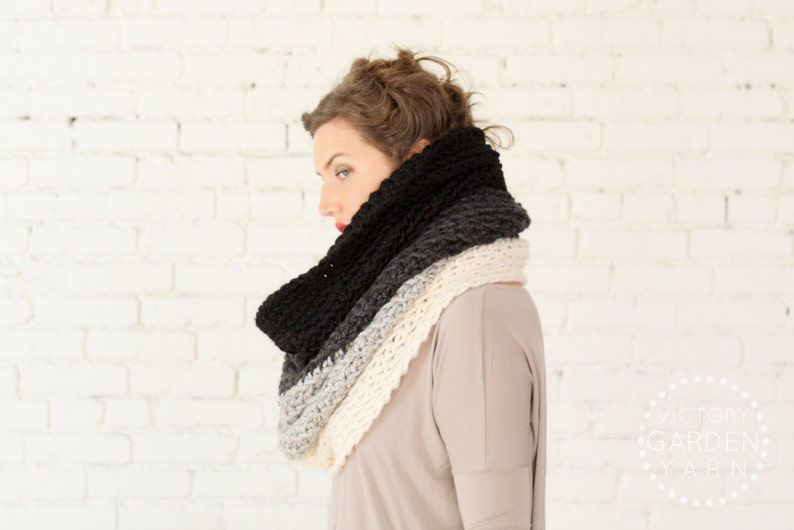 The Ombré Cowl  SMOKE  Chunky Knit Ombré Oversized Huge image 0