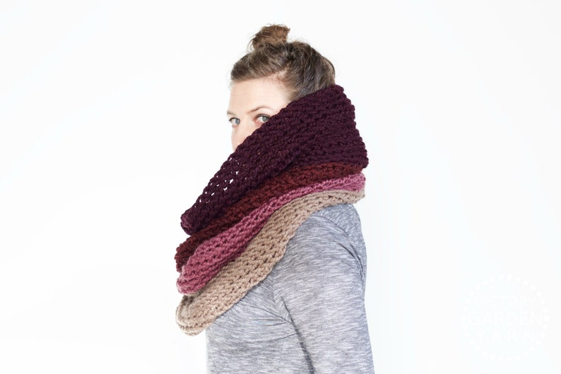 The Ombré Cowl  ORCHID  Chunky Scarf Knit Ombré Oversized image 0