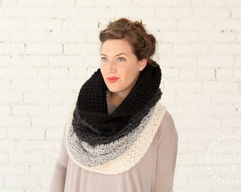 The Ombré Cowl   SMOKE   Chunky Knit Ombré Oversized Huge Textured Winter Cowl Scarf